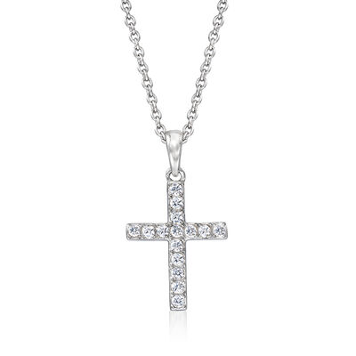 .20 ct. t.w. CZ Cross Pendant Necklace in Sterling Silver