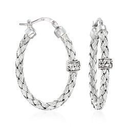 "Charles Garnier ""Torino"" .20 ct. t.w. CZ Oval Hoop Earrings in Sterling Silver. 1 1/4"", , default"