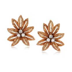 C. 1960 Vintage .35 ct. t.w. Diamond Leaf Clip-On Earrings in 18kt Yellow Gold, , default