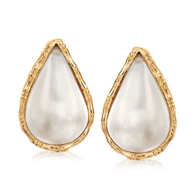 C. 1980 Vintage 25x16mm Cultured Mabe Pearl Earrings in 14kt Yellow Gold, , default
