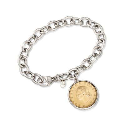 Italian Genuine 20-Lira Coin Charm Bracelet in Sterling Silver, , default