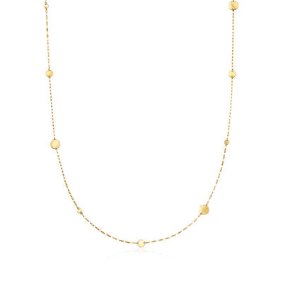 1.6mm 14kt Yellow Gold Lumachina Chain Station Necklace, , default