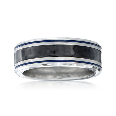 Men's 8mm Tungsten Carbide and Carbon Fiber Wedding Ring with Blue Stripes, , default
