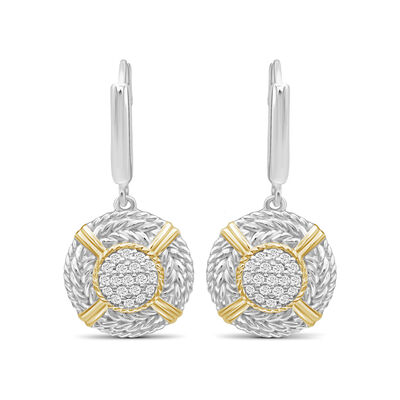 .26 ct. t.w. Diamond Cluster and Roped Drop Earrings in Two-Tone Sterling, , default