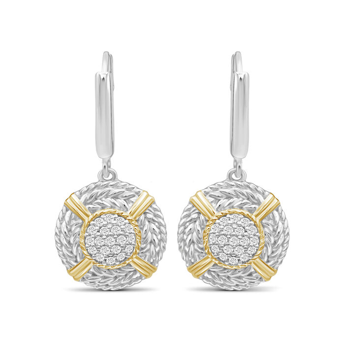 .26 ct. t.w. Diamond Cluster and Roped Border Drop Earrings in Two-Tone Sterling, , default