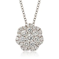 ".50 ct. t.w. Floral Diamond Pendant Necklace in 14kt White Gold. 16"", , default"