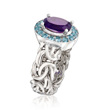 1.60 Carat Amethyst and .60 ct. t.w. Sky Blue Topaz Byzantine Ring in Sterling Silver, , default