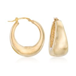 Italian 18kt Gold Over Sterling Hoop Earrings, , default