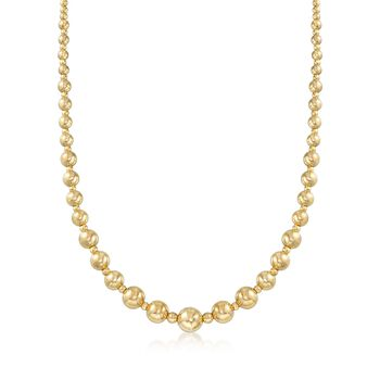 Italian 2.6-9mm 18kt Yellow Gold Bead Necklace, , default