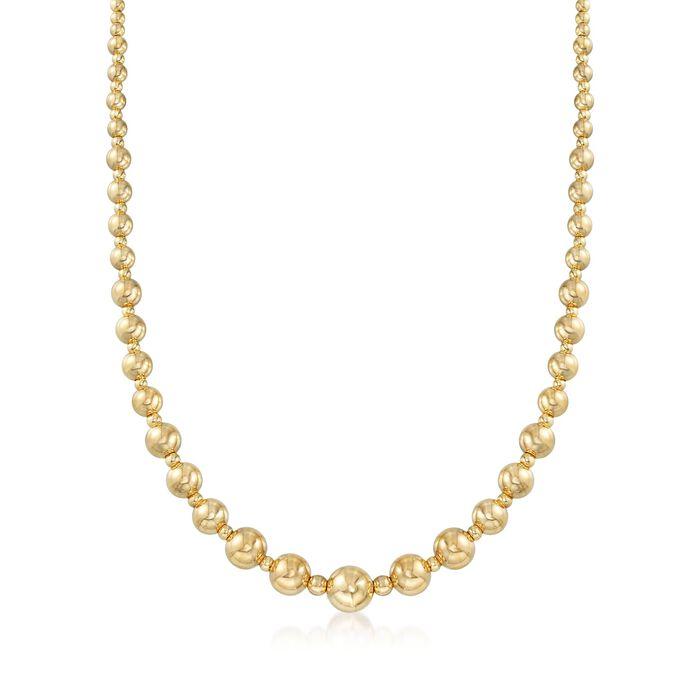 Italian 2.6-9mm 18kt Yellow Gold Bead Necklace, , default