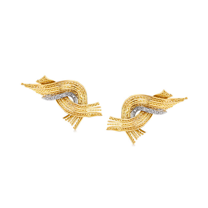 C. 1960 Vintage .20 ct. t.w. Diamond Rope Earrings in 18kt Yellow Gold