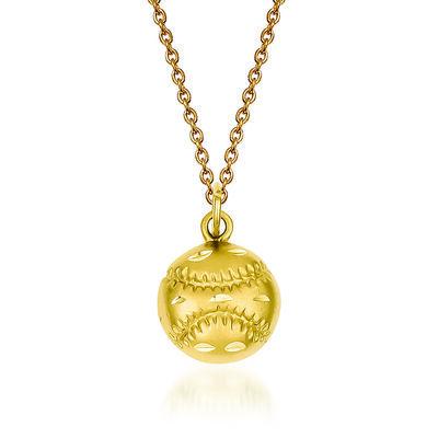 "14kt Yellow Gold Diamond-Cut Baseball Charm Necklace. 18"", , default"