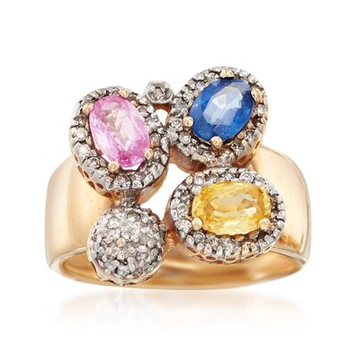 C. 1990 Vintage 1.50 ct. t.w. Multicolored Sapphire and .30 ct. t.w. Diamond Ring in 14kt Yellow Gold, , default