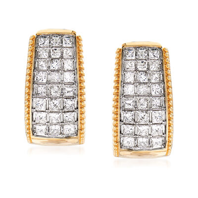 1.50 ct. t.w. Diamond Beaded-Edge Hoop Earrings in 14kt Yellow Gold