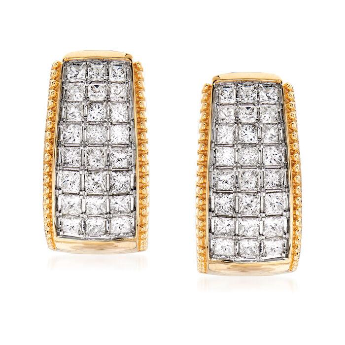 """1.50 ct. t.w. Diamond Beaded-Edge Hoop Earrings in 14kt Yellow Gold. 5/8"""""""