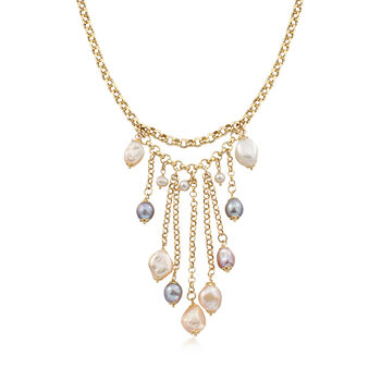 "Italian 4-12mm Multicolored Cultured Pearl Tassel Necklace in 18kt Gold Over Sterling. 18"", , default"