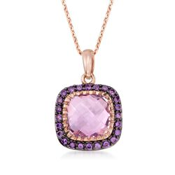 "6.70 Carat Pink and Purple Amethyst Pendant Necklace in 14kt Rose Gold Over Sterling. 18"", , default"
