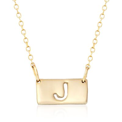 24kt Gold Over Sterling Silver Single Block Initial Bar Necklace, , default