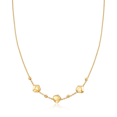 22kt Yellow Gold Geometric Bead Station Necklace, , default
