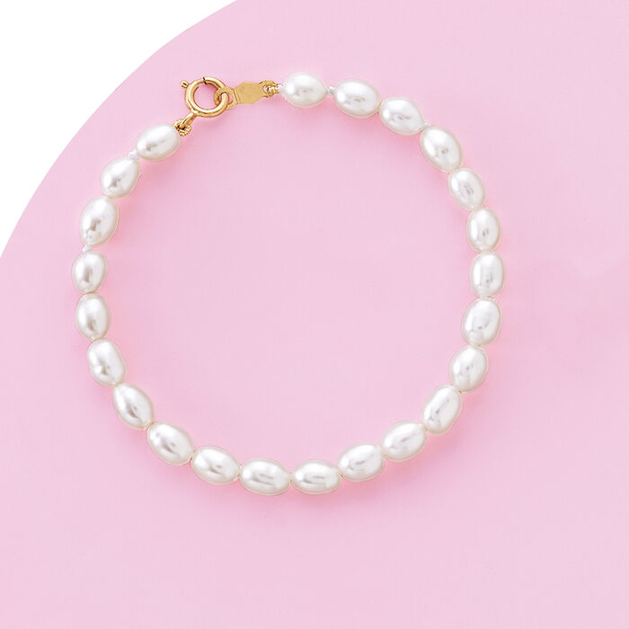 Child's 4-4.5mm Cultured Pearl Bracelet with 14kt Yellow Gold
