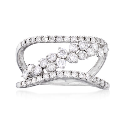 1.00 ct. t.w. Diamond Sideways-Row Ring in 14kt White Gold, , default