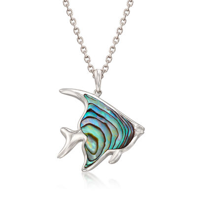 Abalone Shell Fish Pendant Necklace in Sterling Silver, , default