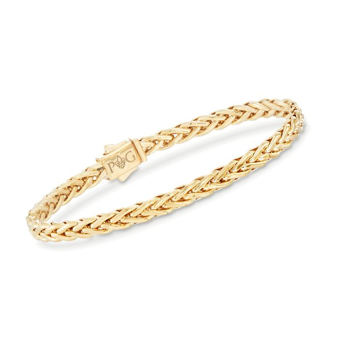 "Phillip Gavriel ""Woven Gold"" 14kt Yellow Gold Squared Braid Link Bracelet"