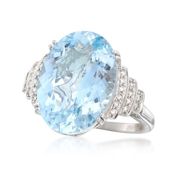 11.00 Carat Aquamarine and .24 ct. t.w. Diamond Ring in 14kt White Gold, , default