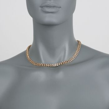 "C. 1990 Vintage 8.90 ct. t.w. Diamond and 4.40 ct. t.w. Sapphire Necklace in 18kt Yellow Gold. 16"", , default"