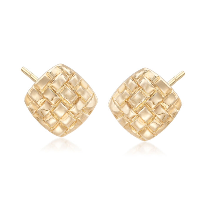 14kt Yellow Gold Woven Stud Earrings, , default