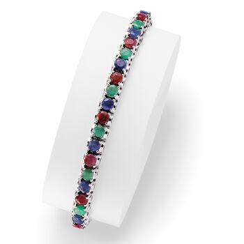 13.20 ct. t.w. Multi-Gem Tennis Bracelet in Sterling Silver
