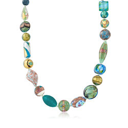 "Italian Green and Blue Murano Glass Bead Necklace With 18kt Gold Over Sterling. 18"", , default"