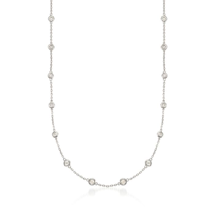 """1.00 ct. t.w. Diamond Station Necklace in Sterling Silver. 16"""", , default"""