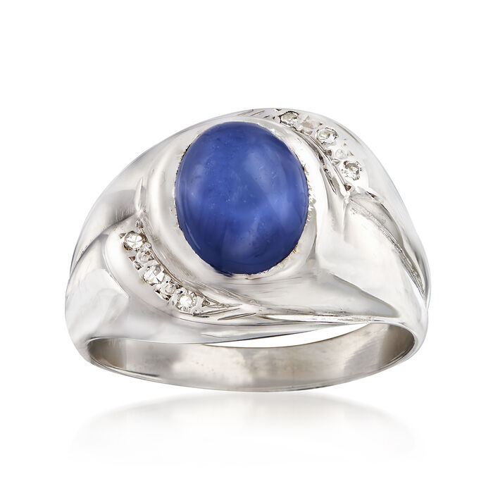 C. 1970 Vintage Men's 3.40 Carat Synthetic Sapphire Ring with Diamond Accents in 14kt White Gold. Size 10