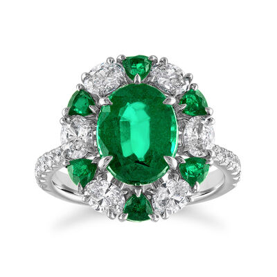 6.40 ct. t.w. Zambian Emerald and 5.63 ct. t.w. Diamond Ring in 18kt White Gold
