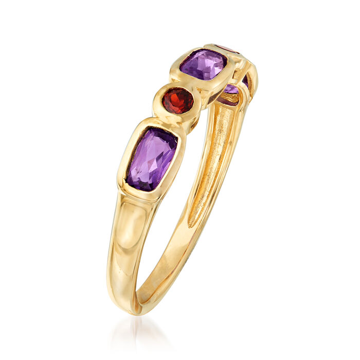 .60 ct. t.w. Amethyst and .20 ct. t.w. Garnet Ring in 14kt Yellow Gold