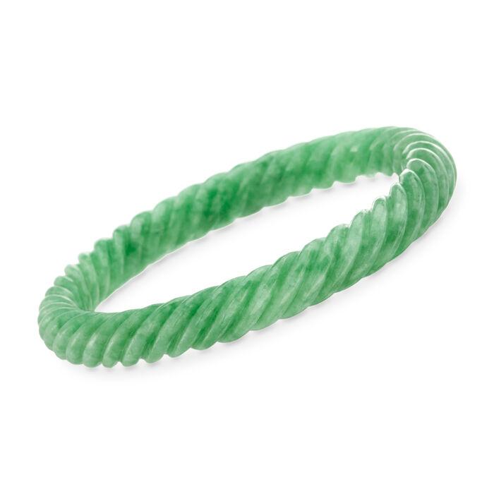"""Carved Green Jade Bangle Bracelet. 7.5"""""""