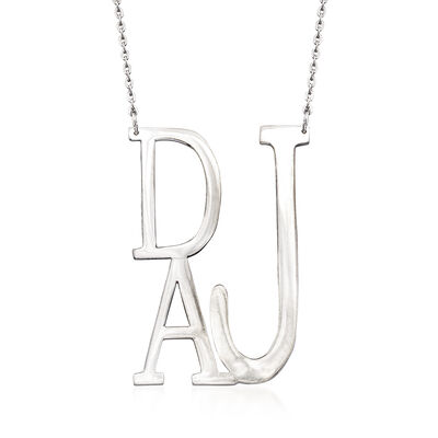 Sterling Silver Block-Style Monogram Necklace , , default