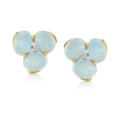 Mazza 30.00 ct. t.w. Aquamarine and .36 ct. t.w. Diamond Earrings in 14kt Yellow Gold, , default