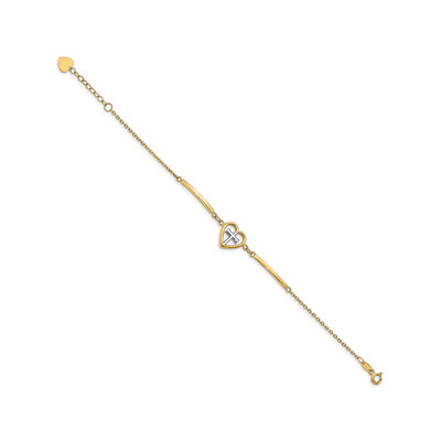 14kt Yellow Gold Heart and Cross Bracelet with White Rhodium
