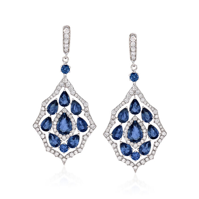 10.40 ct. t.w. Sapphire and 1.90 ct. t.w. Diamond Drop Earrings in 18kt White Gold