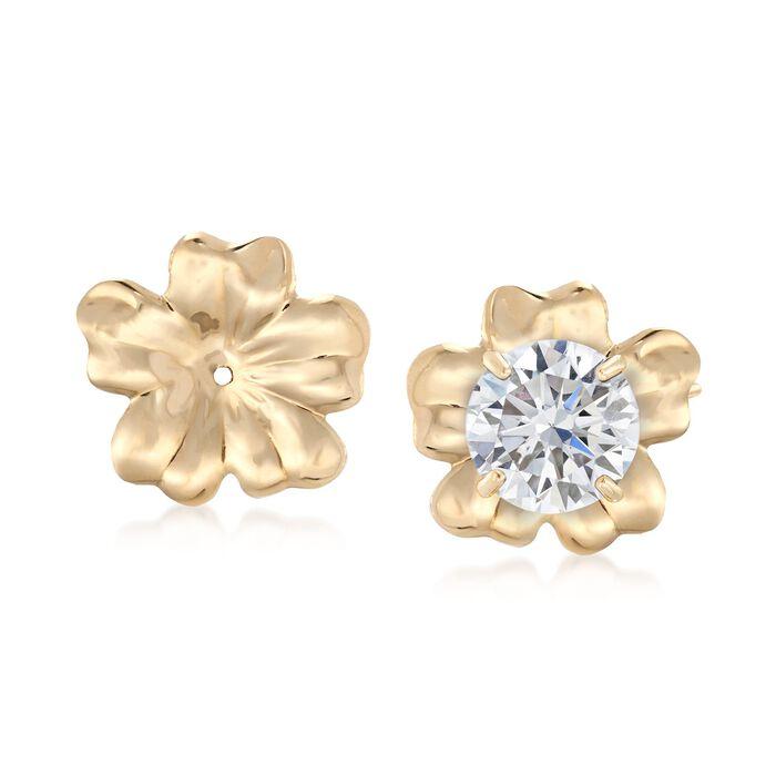 14kt Yellow Gold Flower Petal Earring Jackets, , default