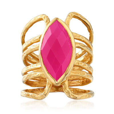 9x18mm Pink Agate Ring in 18kt Gold Over Sterling, , default