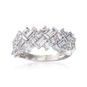 2.00 ct. t.w. Round and Baguette CZ Ring in Sterling Silver, , default