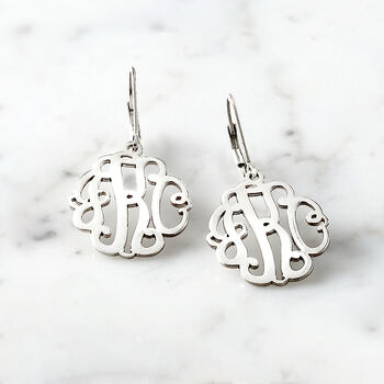 Sterling Silver Small Script Monogram Drop Earrings, , default