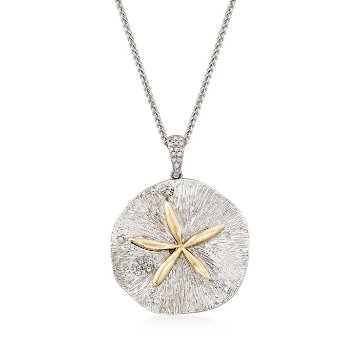 Sterling Silver and 14kt Yellow Gold Sand Dollar Necklace with .10 ct. t.w. Diamonds, , default