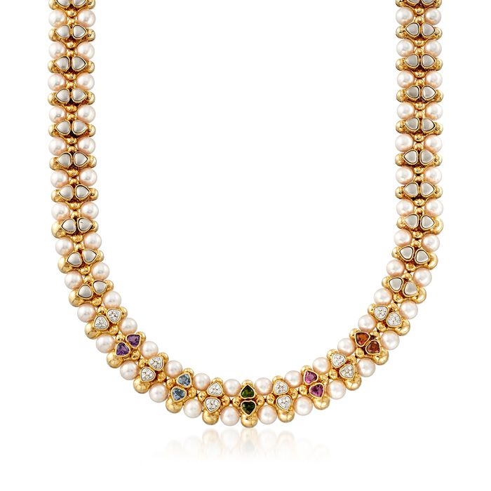 C. 1980 Vintage 7.5mm Cultured Pearl and 4.50 ct. t.w. Multi-Stone Necklace in 14kt Yellow Gold