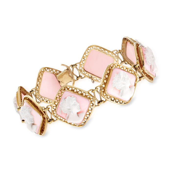 C. 1970 Vintage Pink Agate Cameo Bracelet in 18kt Yellow Gold