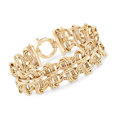 14kt Yellow Gold Double Oval Interlocking Link Bracelet, , default
