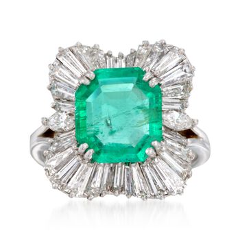 C. 1970 Vintage 3.40 Carat Emerald and 2.45 ct. t.w. Diamond Ballerina Ring in Platinum. Size 6.5, , default
